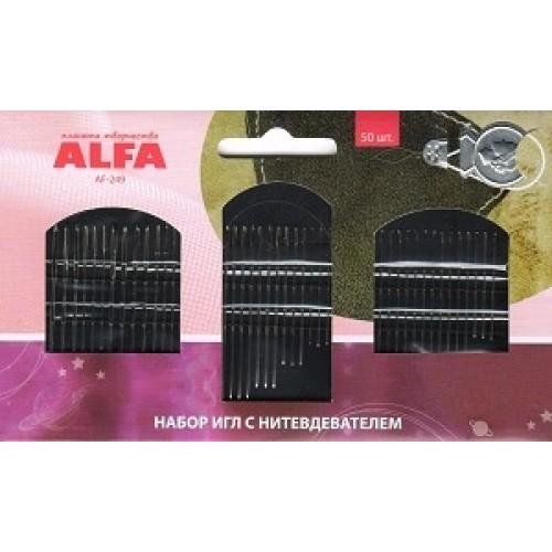 Иглы ручные ALFA набор игл с нитевдевателем AF-249