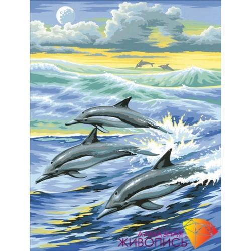 """Картина стразами """"Семья дельфинов"""""""