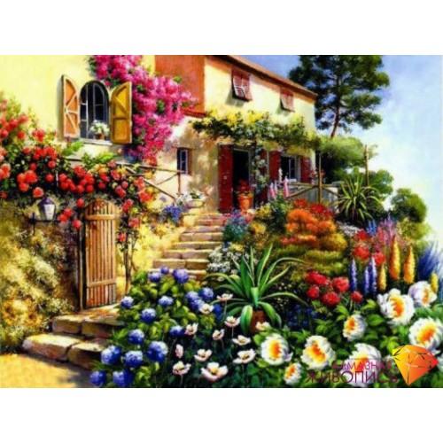"""Картина стразами """"Дом в цветах"""""""