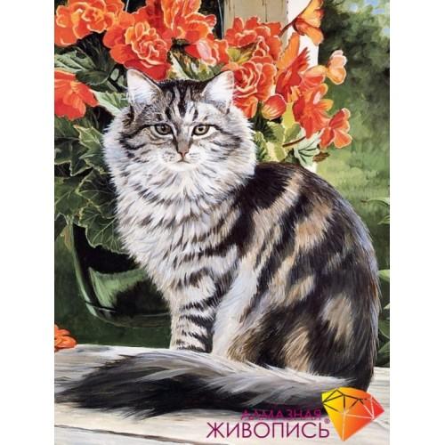"""Картина стразами """"Кот в саду"""""""