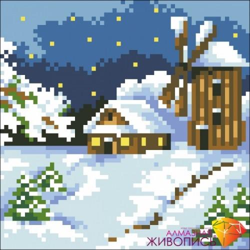 """Картина стразами """"Домик в снегу"""""""